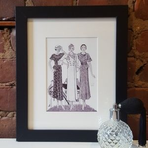 Other - 1940's Fashion Sketch Wall Art